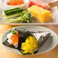 千切ごま沢庵の手巻き寿司